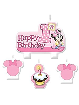 Minnie Mouse 1St Birthday Candle Set (4 Pack) from AMSCAN