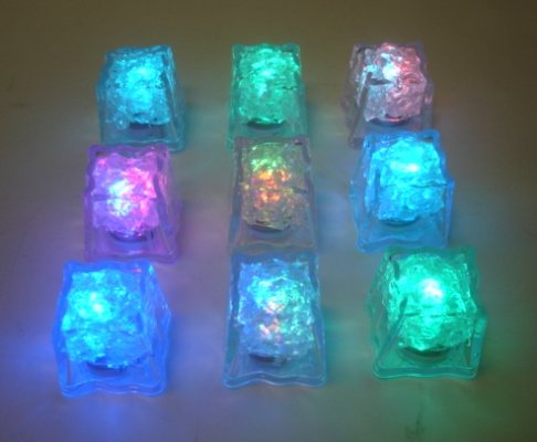 Le-Neon Favors Led Light Ice Cubes With On/Off Switch, Mulit-Color, 1 Dozen Boxed