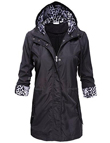 Luna Flower Water Resistant Lightweight Snap Buttoned Long Rain Jackets 117-Black Large