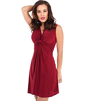 KRISP® Womens Ruched Draped Twisted Knot Front Mini Sleeveless V neck float Dress Tie Belted Party Summer Casual Beach Size 8 10 12 14 16 18 (9354) (8, Berry)