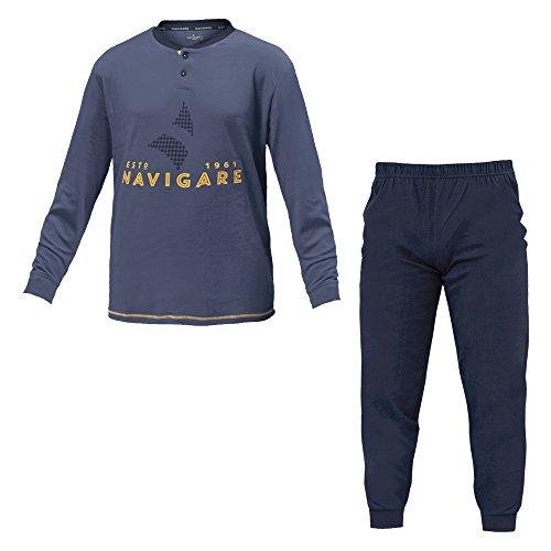 Pigiama Uomo NAVIGARE Tg Forti Cotone Interlock 3 Colori Serafino Art.140663B ( Jeans - 58 / 4XL)