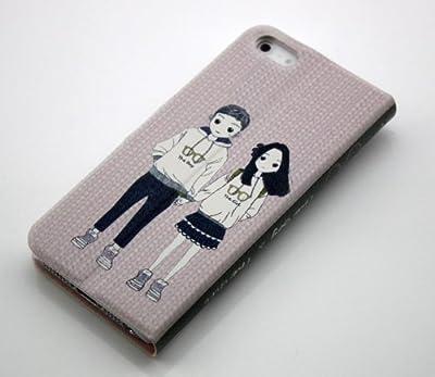 【Always 】【カラー豊富】【全2柄】【液晶保護フィルム付き】SoftBank au iphone5用スタンドケース アップル アイフォン5 対応PUレザーソフトケース/カバー 日韓風 蓋付 横開き メガネをかけた女柄 カップル PU leather soft case for iphone5 (ホワイト+ピンク)white+pink