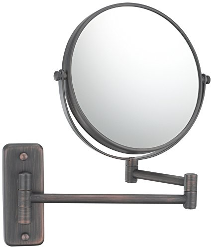 Mirror Image 21115 Double Arm Wall Mirror, 7.75-Inch Diameter, 1X And 5X Magnification, Italian Bronze