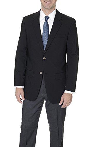 Gianco Polo Mens Two Button Stretch Wool Blend Blazer Solid Black 44L