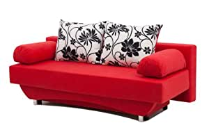 b-famous Schlafsofa Queens 186 x 80 cm, Mikrofaser, rot