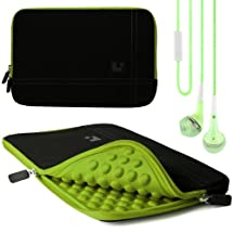 Green Edge SumacLife Microsuede Sleeve w/ Neoprene Bubble Padding for Samsung ATIV Tab 3 10.1 inch Tablet + Green Handsfree Hifi Noise Isolating Stereo Headphones with Windscreen Microphone and Soft Silicone Ear Tips