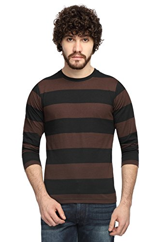 Goodtry-Mens-Cotton-Striped-Round-Neck-Full-Sleeve-T-shirt-Brown