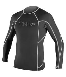 O'Neill Wetsuits Basic Skins Long Sleeve Crew, BK Grey Sripes - Large