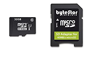 ByteStor Pro 32GB 40Mbps Class 10 High Speed Micro SDHC UHS-1 Card with SDHC Card Adapter