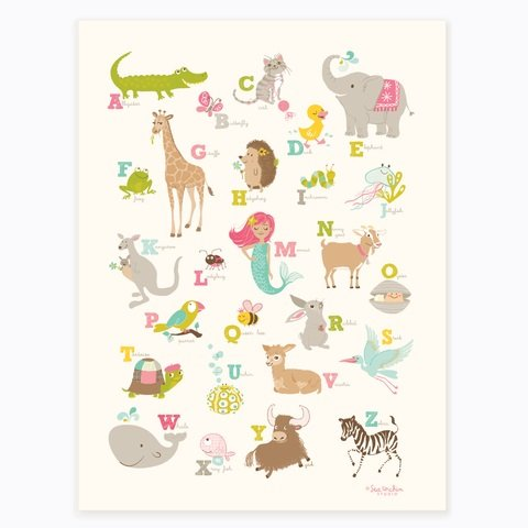 "Sea Urchin Studio Alligator to Zebra ABC Poster, Pink, 12"" x 16"""