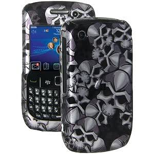 Amzer 85085 Limited Edition Skulls Snap On Hard Case - Grey/ Black for BlackBerry Curve 3G 9300, BlackBerry Curve 8520
