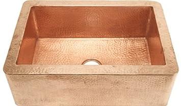 FHA33SHNY inch Hammer Copper Kitchen Sink Shiny Farmhouse Apron