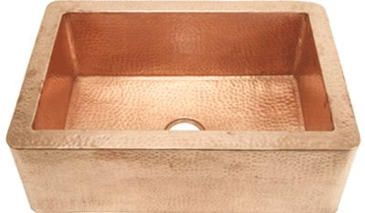 FHA33SHNY inch Hammer Copper Kitchen Sink Shiny Farmhouse Apron
