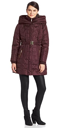 Kensie Women's Plus-Size Long Down Coat With Hood Wine