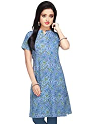 Blue Block Printed Cotton Kurta - B00O7H5M32