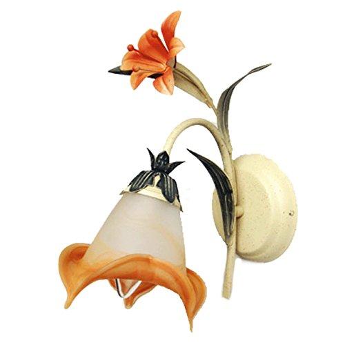 Applique style floral, modern, armature en métal, plafonnier en verre couleur orange 1 ampoule non-incl. E14 1x60W 230V