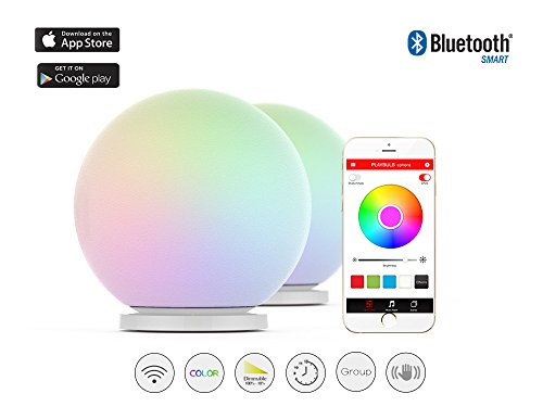 MIPOW PLAYBULB Sphere Bluetooth smart color changing Waterproof Dimmable LED Glass Orb light with APP control, floor Lamp, Night Light, Wireless Cha