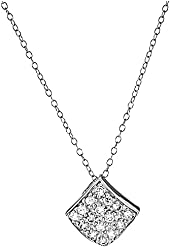 Sterling Silver Round Cubic Zirconia Square Pendant Necklace 18 Inches Silver Chain SPJ