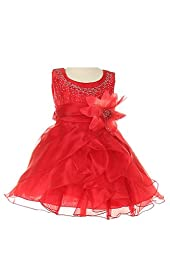 Cinderella Couture Baby Girls\' Cascading Organza Dress Red Med 12M (B1101)