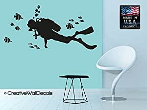 Wall decal vinyl sticker decals art decor for Diving and fishing mural