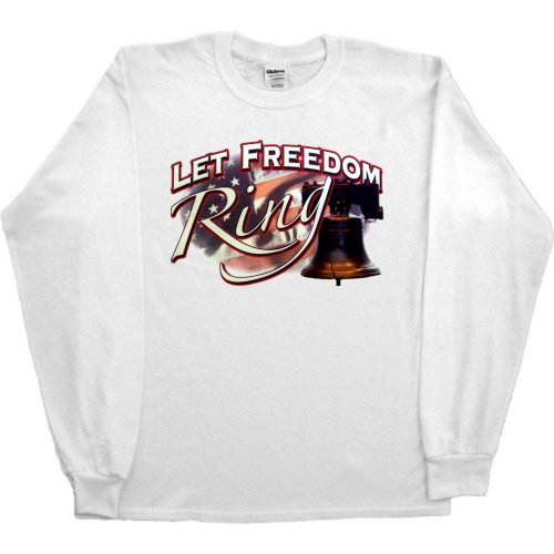 Mens Long-Sleeve T-Shirt : Sand - Small - Let Freedom Ring - Liberty Bell Us Flag Patriotic