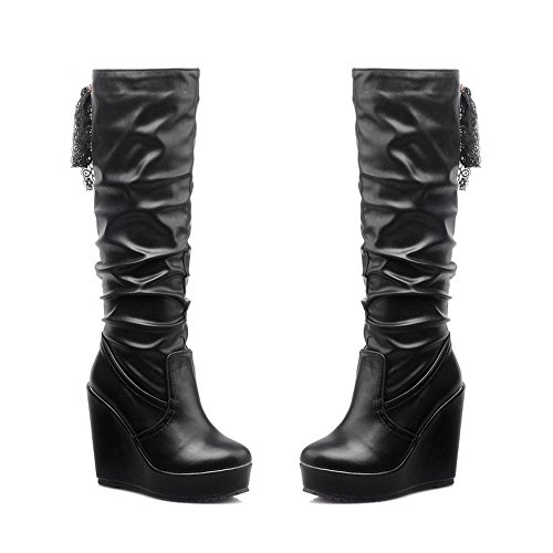 Voguezone009 Womens Closed Round Toe High Heels Pu Short Plush Solid Boots With Bandage And Wedges, Black, 36