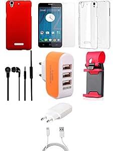 NIROSHA Tempered Glass Screen Guard Cover Case Charger Headphone Mobile Holder car Combo for YU Yureka Combo