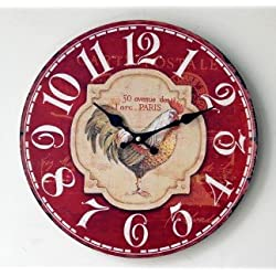 14 Schmuckbox Vintage France Paris Colorful French Country Tuscan Style Non-Ticking Silent Wood Wall Clock with rooster RED Hot