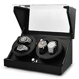 Klarstein CA2PM Watch Winder Display Case (4 Watches, Built-in Battery & 4 Programs) - Black