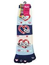 Yelete Toe Socks Blue Stripes w/ Cats - Toe Socks