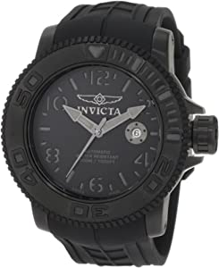Invicta Men's 1077 Sea Hunter Automatic Black Dial Black Rubber Watch