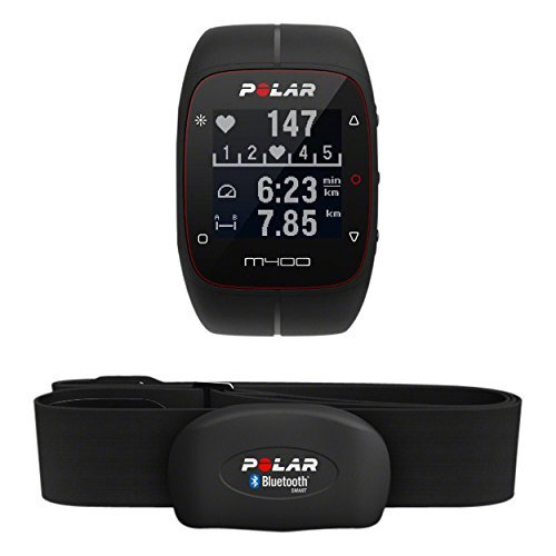 Polar M400 Orologio Gps con Fascia Cardio Bluetooth Smart per Corsa Outdoor e Indoor, Nero