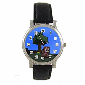 Minecraft Pig cartoon Custom 100% NEW genuine leather Band fashion adult's Sport wrist watch
