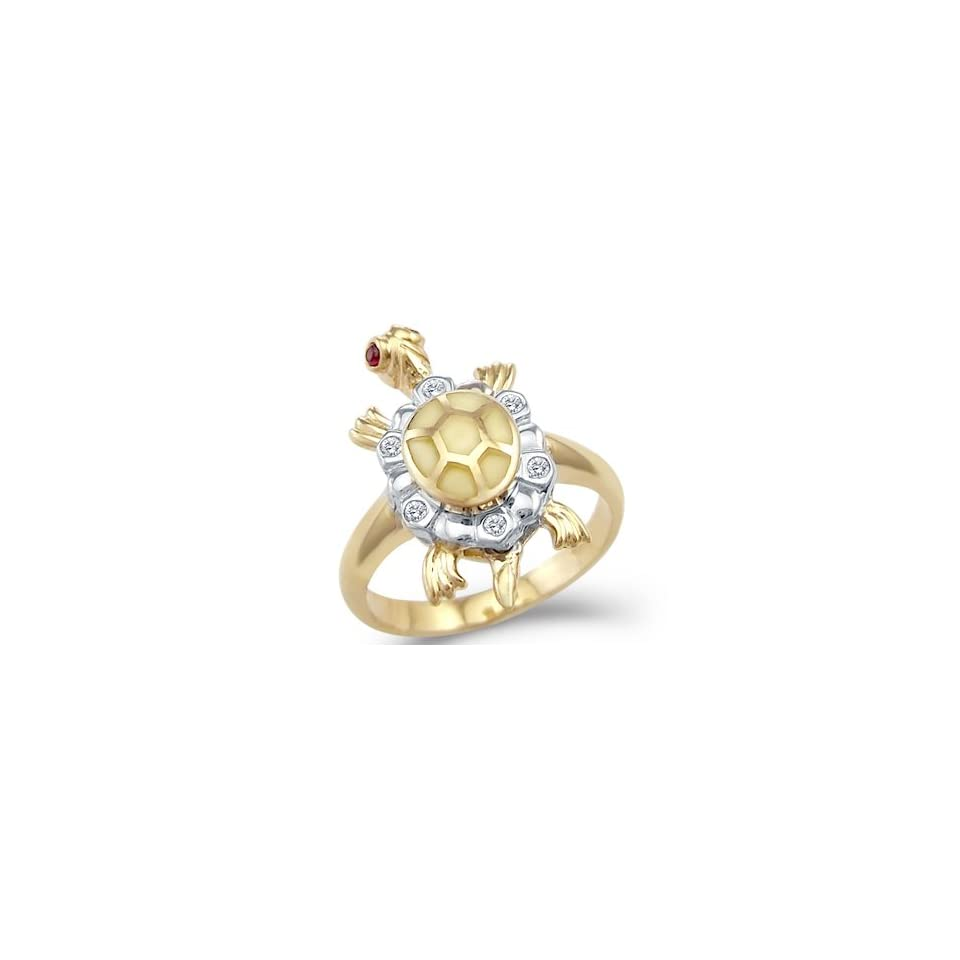 and White Two Tone Gold Turtle Motion CZ Cubic Zirconia Ring Jewelry