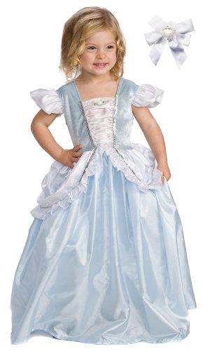 2 Item Bundle: Little Adventures Cinderella Princess Dress Up Costume + Hair Bow - Girls Size 1-3T - Machine Washable!