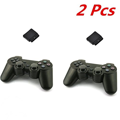 2X Wireless Ps2 Analog Controller Sony Playstation Game Shock Vibration New Black (2)