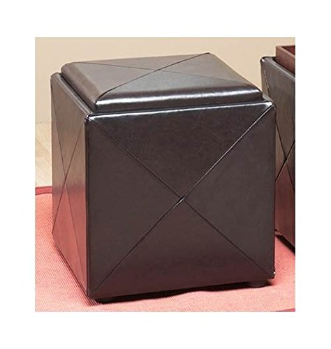 Modus Furniture ML0892F Upholstered Milano Storage Cube, Chocolate Leatherette