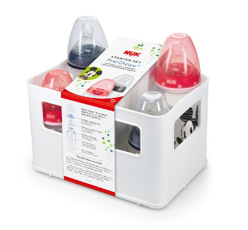 Nach oben NUK Disney Mickey First Choice+ Starter Set mit 4 Anti-Colic Weithalsflaschen (2x 150ml und 2x 300ml) mit Silikonsauger und Flaschenbox