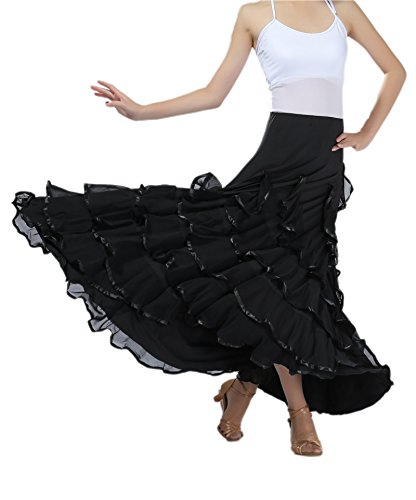 CISMARK Voguish Ballroom Dancing Latin Dance Party Skirt One Size(black)