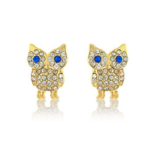 Goldene Eulen Ohrringe mit Strasssteinen und königsblauen Augen