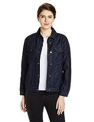 People Women's Cotton Down Jackets (P20402114976251_Indigo Solid_S)