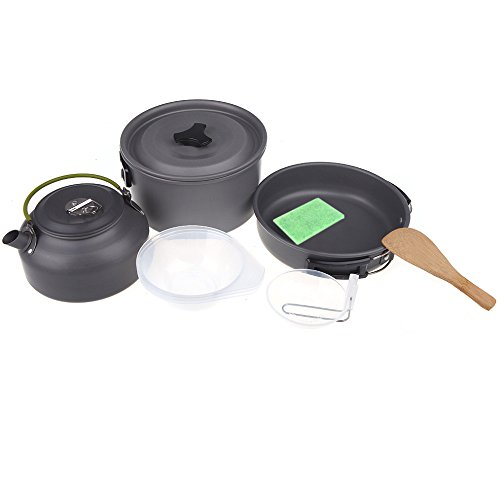 Ravetech(Tm) Aluminum Oxide Outdoor Camping Pot Set Hiking Cookout Picnic Cookware Teapot Coffee Kettle Set All In One For 2-3 People