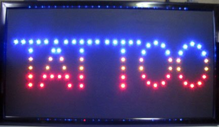 """""""TATTOO"""" in Rainbow Colors - Large 24"""" x 13"""" LED Business Light Sign"""