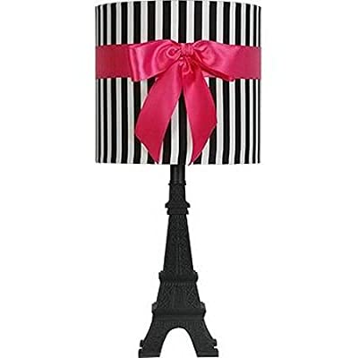 Stylish Black and White Striped Drum Shade with Pink Ribbon Accent Paris Themed Table Lamp