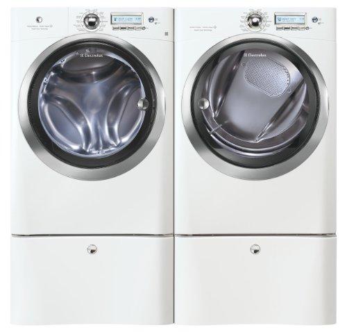 Electrolux Laundry Bundle | Electrolux EWFLS70JIW Washer & Electrolux EWMED70JIW Electric Dryer w/Pedestals - White