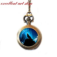 buy Moon Howling Wolf Pocket Watch Necklace, Ful Moon Watch Necklace ,Glass Pendant, Jewelry Picture Pendant