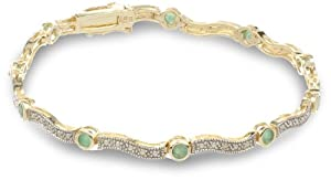 18k Yellow Gold Plated Sterling Silver Emerald Bracelet