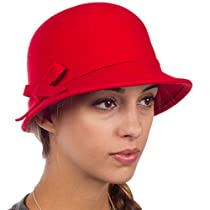 Sakkas 0621LC - Womens Vintage Style Wool Cloche Bucket Winter Hat with Ribbon Bow Accent - Red/One Size