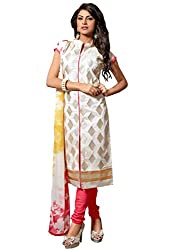 Blissta White Chanderi Unstitched Embroidered Dress Material