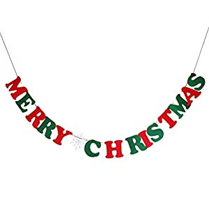 Pixnor MERRY CHRISTMAS Burlap Bunting Banner Flags for Christmas Party by Pixnor